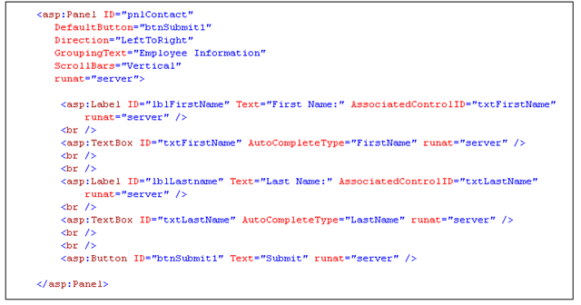Using the ASP.NET Panel Control - TechBubbles
