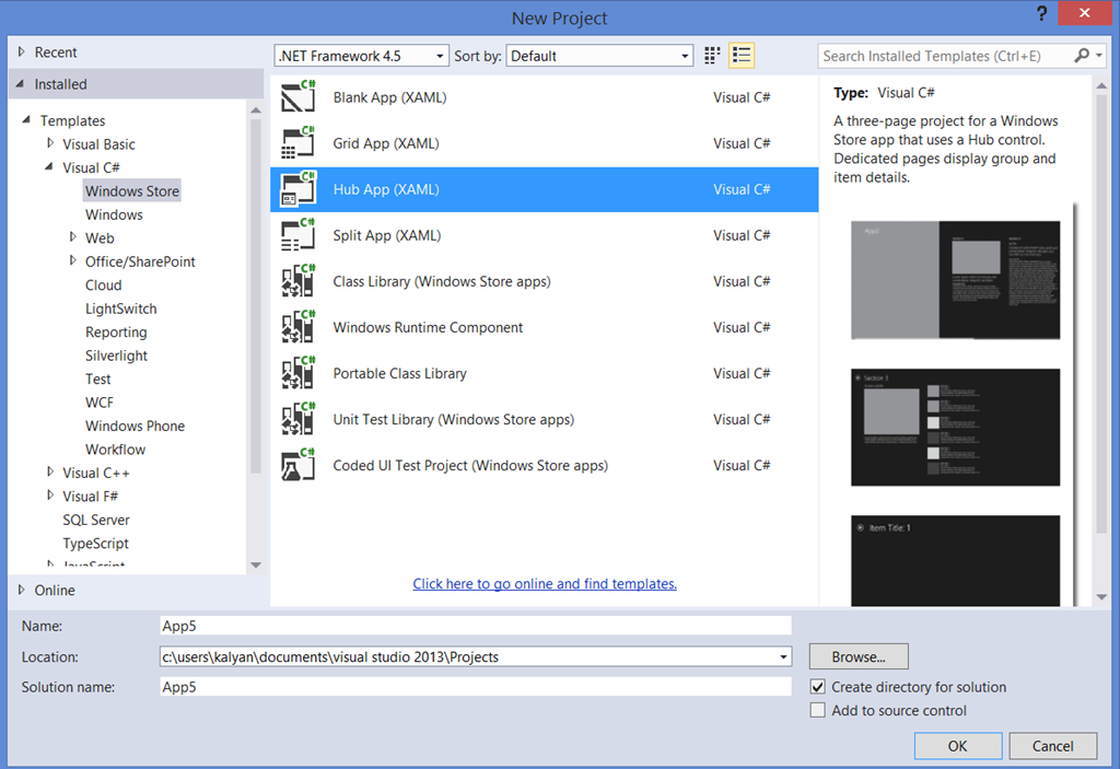 Hub App Project Template in Visual Studio 2013 | TechBubbles